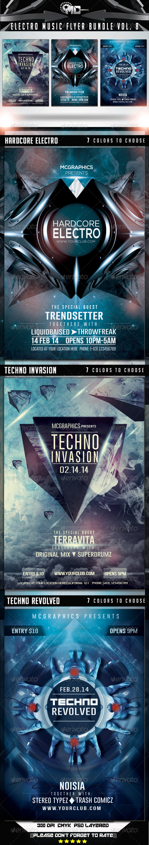 GraphicRiver Electro Music Flyer Bundle Vol 8 7336857