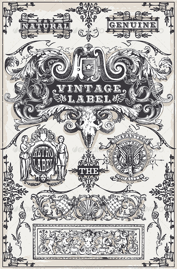 GraphicRiver Vintage Hand Drawn Graphic Banners and Labels 7336866