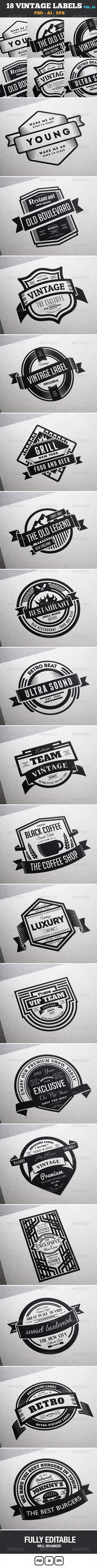 GraphicRiver 18 Vintage Labels & Badges Logos Insignias V10 7292169