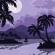 Tropical Sea Landscape with Moon and Palm - GraphicRiver Item for Sale