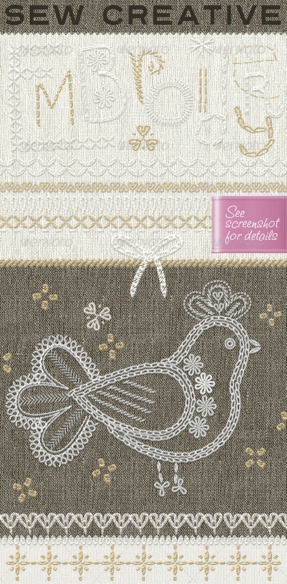 GraphicRiver Embroidery 100& Sewing Stiches with Fabrics 7337171