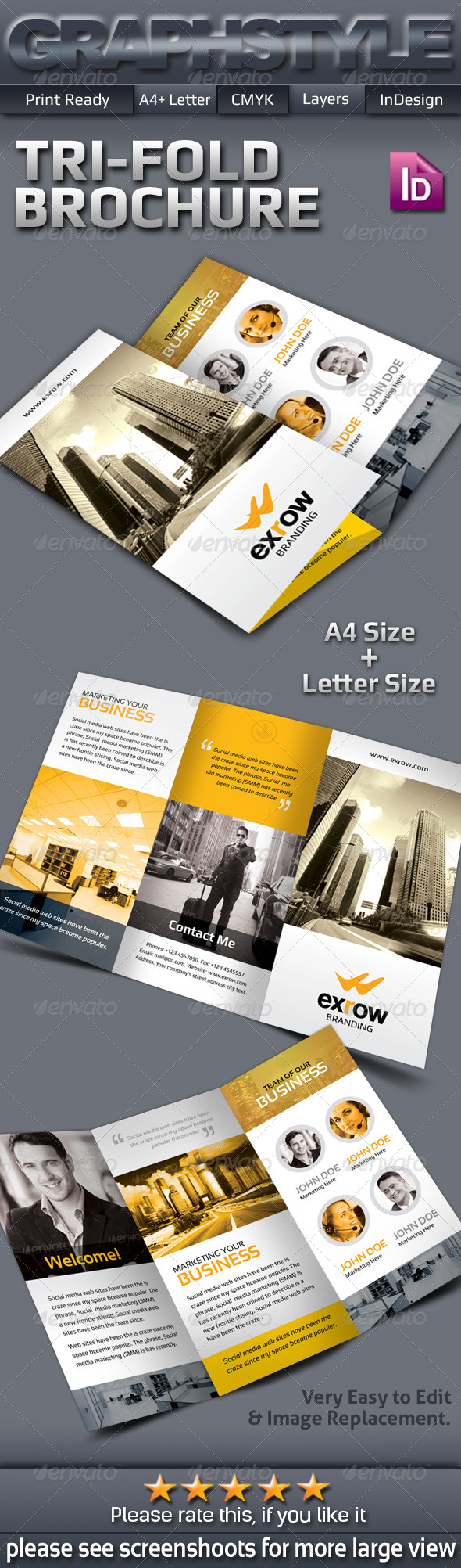 GraphicRiver Exrow Tri-fold Corporate Business Brochure 7337421