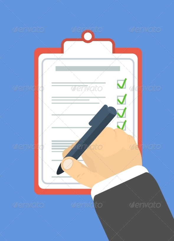 GraphicRiver Hand Holding Pen and Signs the Document 7337501