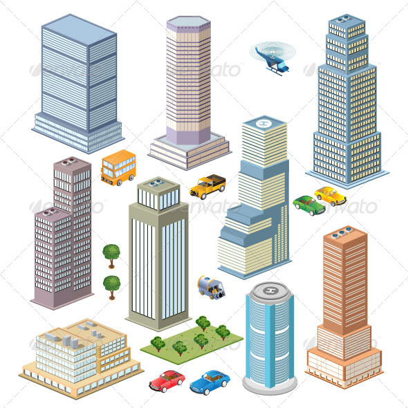 GraphicRiver Skyscraper Set 7337536
