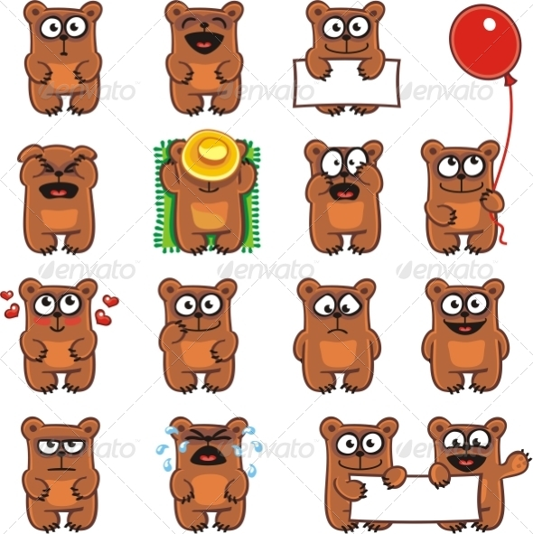 GraphicRiver 15 Smiley Bears Individually Grouped 7338642