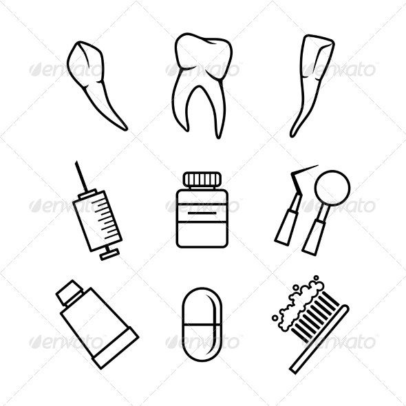 GraphicRiver Dental icons set on white background 7338814