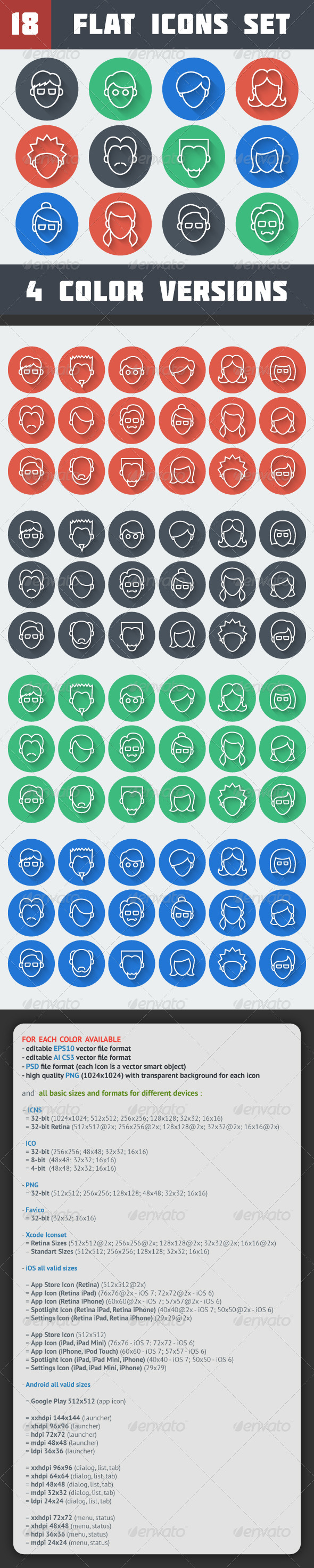 GraphicRiver Circle Line Face Icons Set 7339411