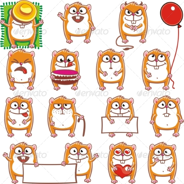 GraphicRiver 15 Smiley Hamsters 7340386