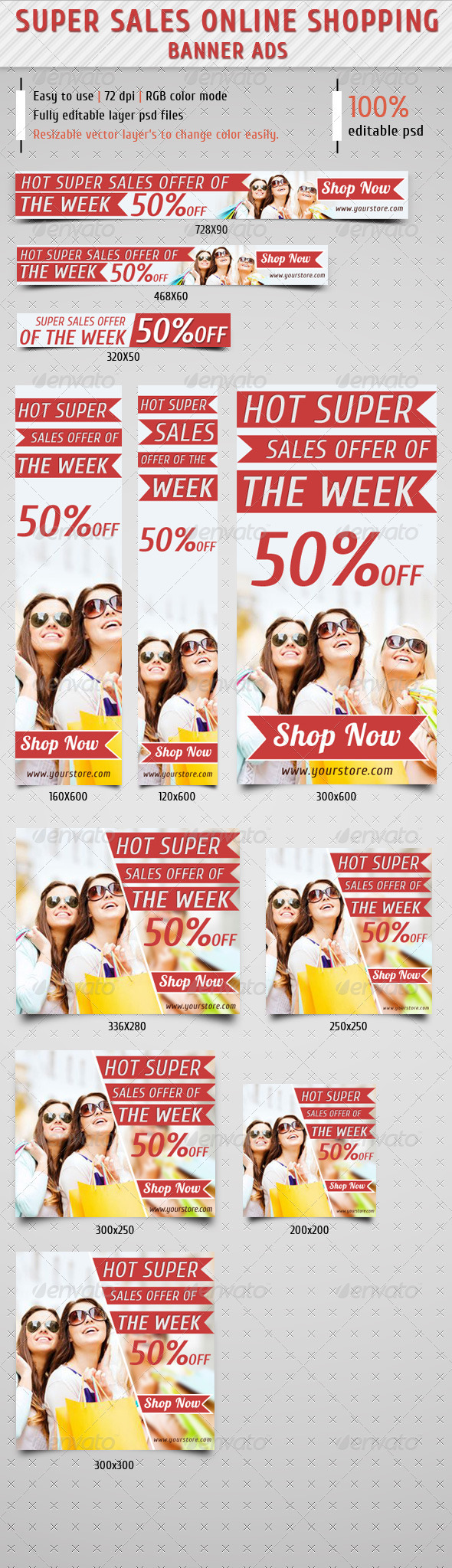 GraphicRiver Super Sale Online Shopping Web Banner Ads 7340401