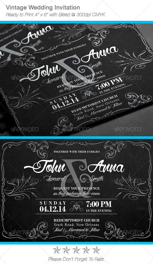 GraphicRiver Vintage Chalkboard Wedding Invitation 7340421