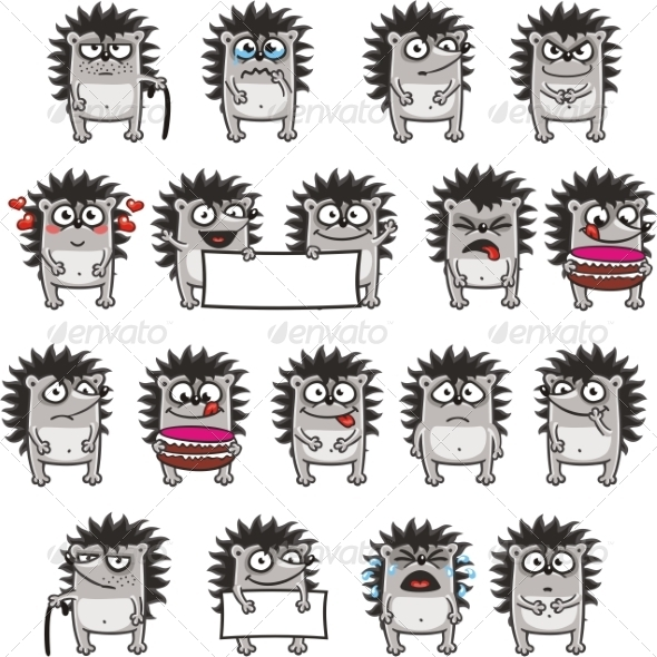 GraphicRiver 18 Smiley Hedgehogs 7340498