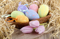 easter eggs and tulips in a basket - PhotoDune Item for Sale