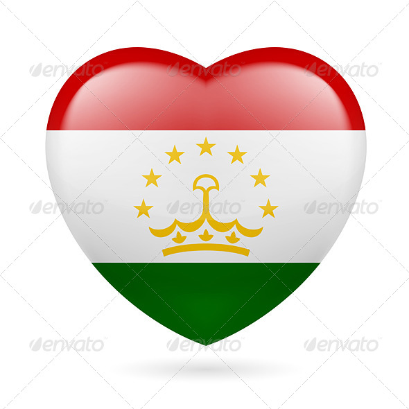 GraphicRiver Heart Icon of Tajikistan 7340795