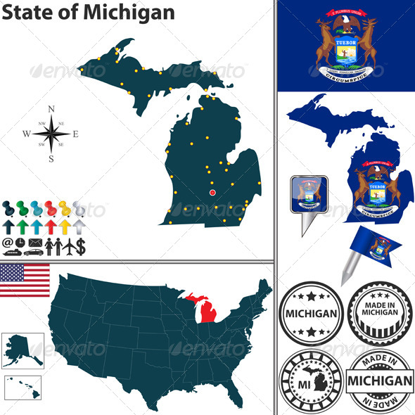 GraphicRiver Map of State Michigan USA 7340895