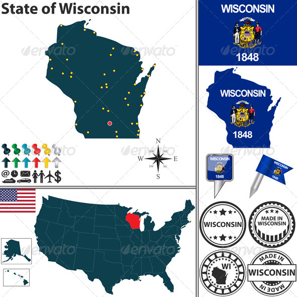GraphicRiver Map of State Wisconsin USA 7340901