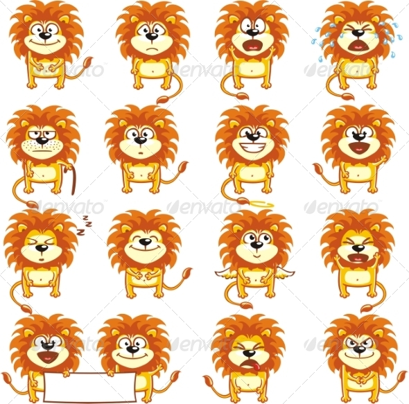 GraphicRiver Smiley Lions 7340963