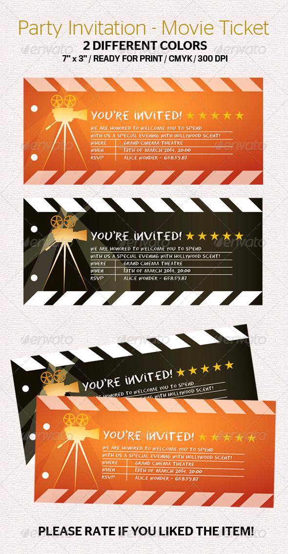 GraphicRiver Party Invitation Movie Ticket 7336707
