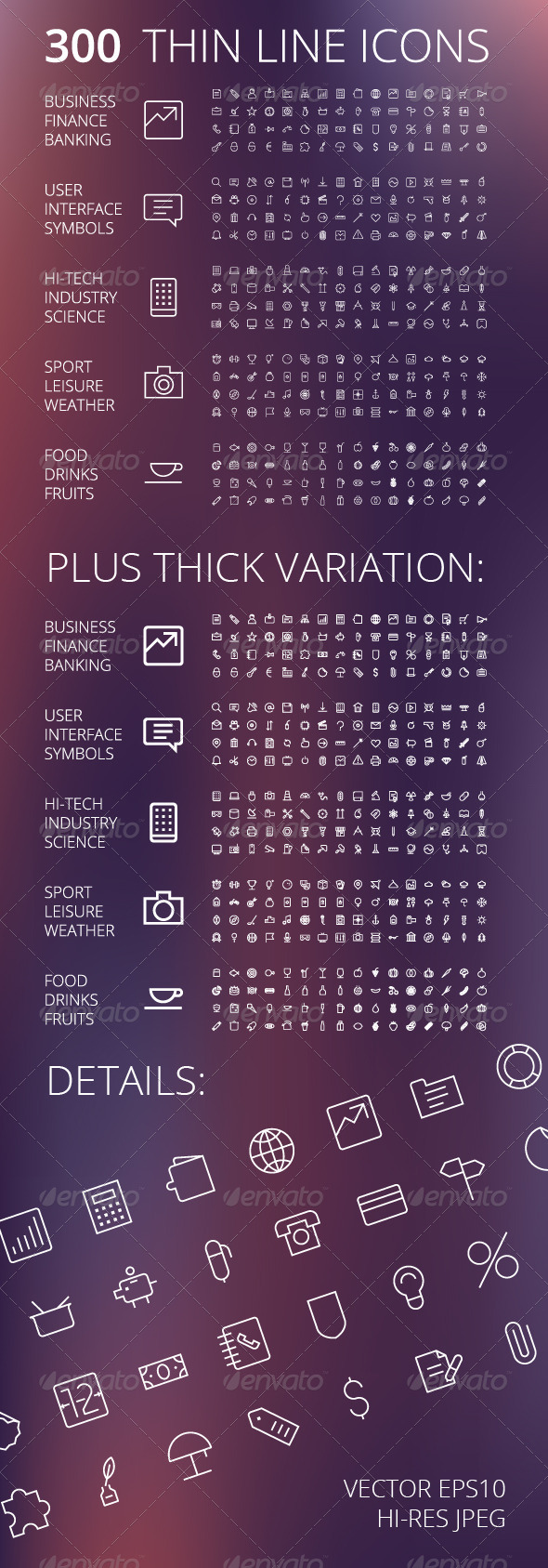 GraphicRiver Thin Line Icons For Business and Technology 7341113