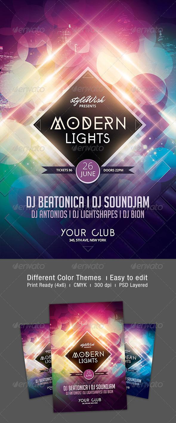 GraphicRiver Modern Lights Flyer 7341338