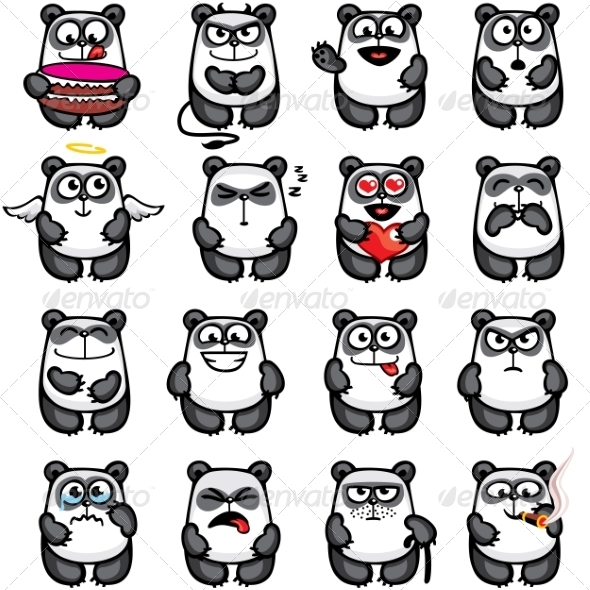 GraphicRiver Smiley Pandas 7341394