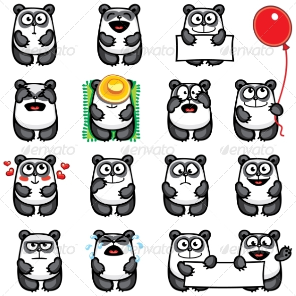 GraphicRiver Smiley Pandas 7341399