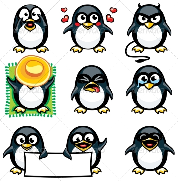 GraphicRiver Smiley Penguins 7341414