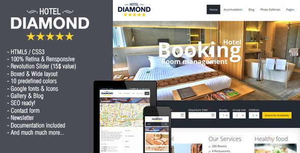 ThemeForest Hotel Diamond Responsive Hotel Online Booking 7341456