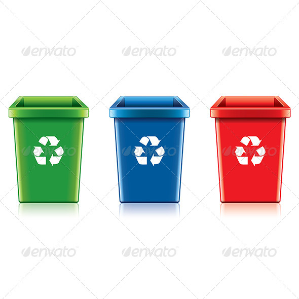 GraphicRiver Plastic Recycle Bin Set 7341545