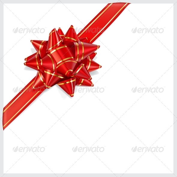 GraphicRiver Bow of Red Ribbon Located Diagonally 7341548