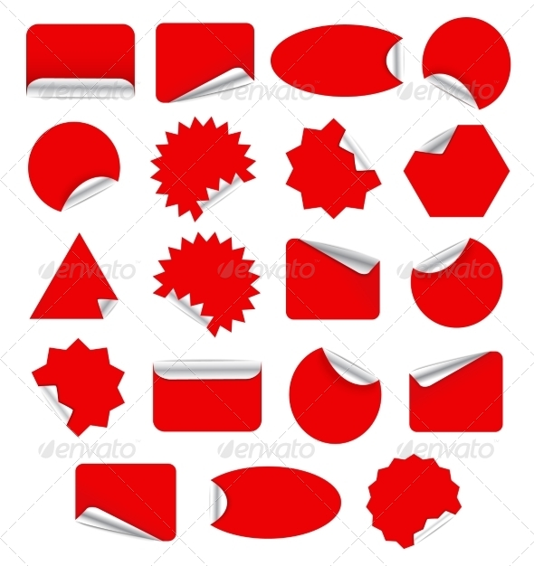 GraphicRiver Set of Red Stickers 7341636