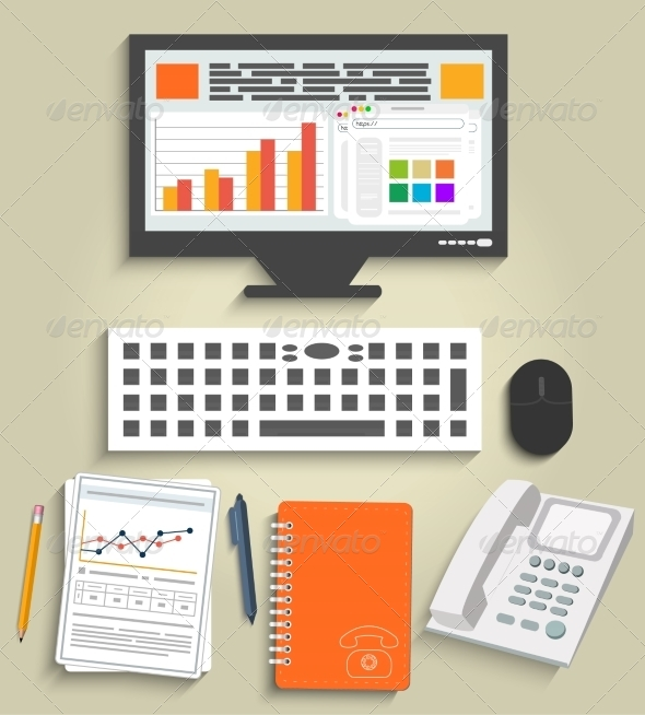GraphicRiver Set of Business Work Elements 7341689