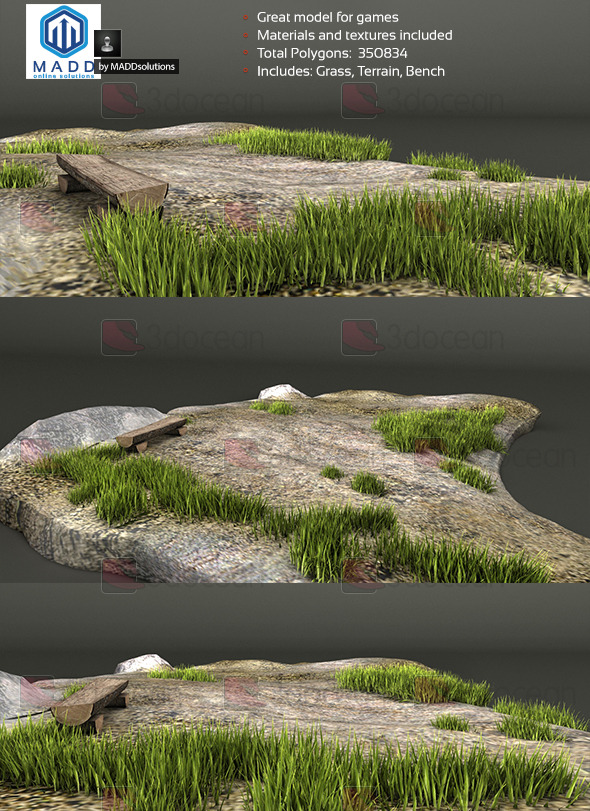 3DOcean Grass Weed Pack & Bench and Terrain 7341777