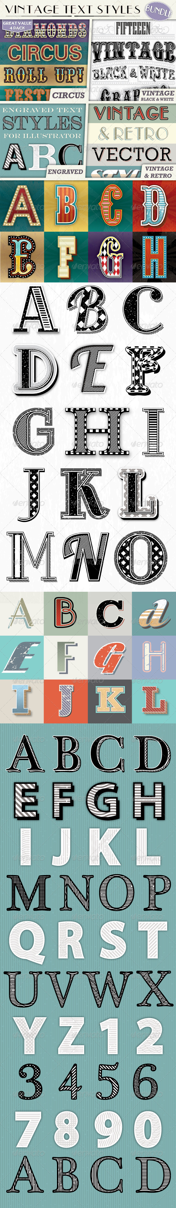GraphicRiver Vintage Text Styles Bundle 7341962