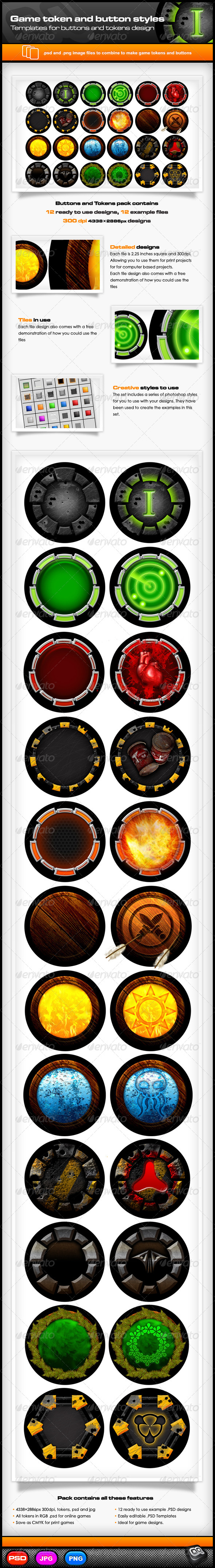 GraphicRiver Game Token and Button Templates 7342183