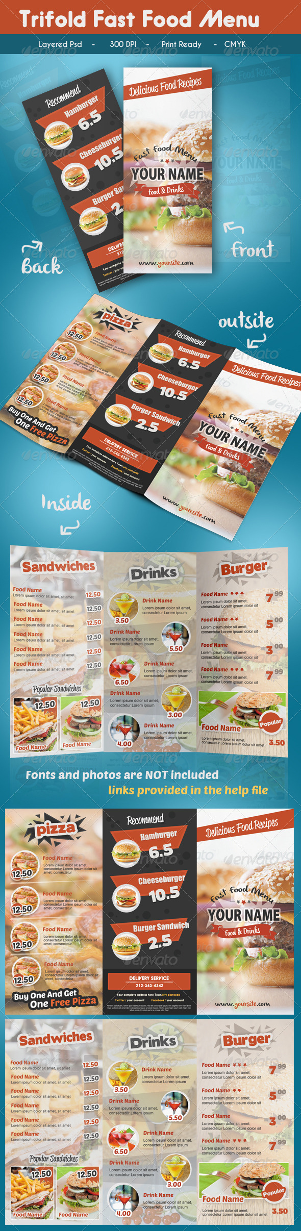GraphicRiver Trifold Fast Food Menu 7341758