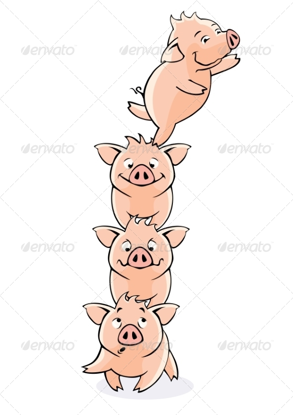 GraphicRiver Funny piglets Vector 7342226