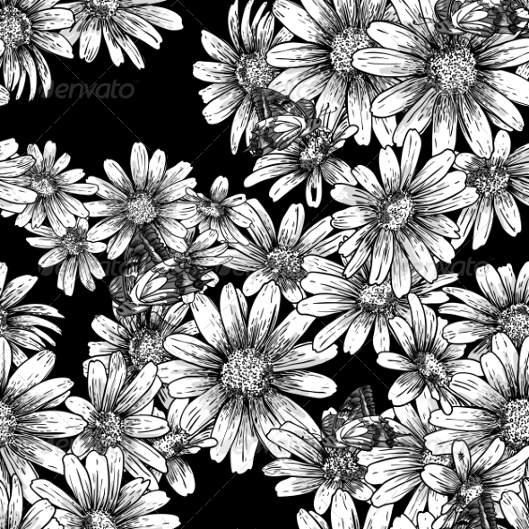 GraphicRiver Vintage Seamless Monochrome Pattern with Daisies 7342235