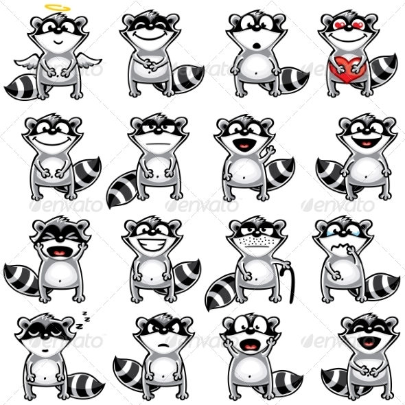 GraphicRiver Smiley Racoons 7342347