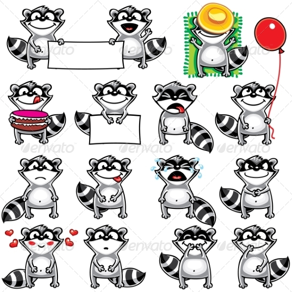 GraphicRiver Smiley Racoons 7342351