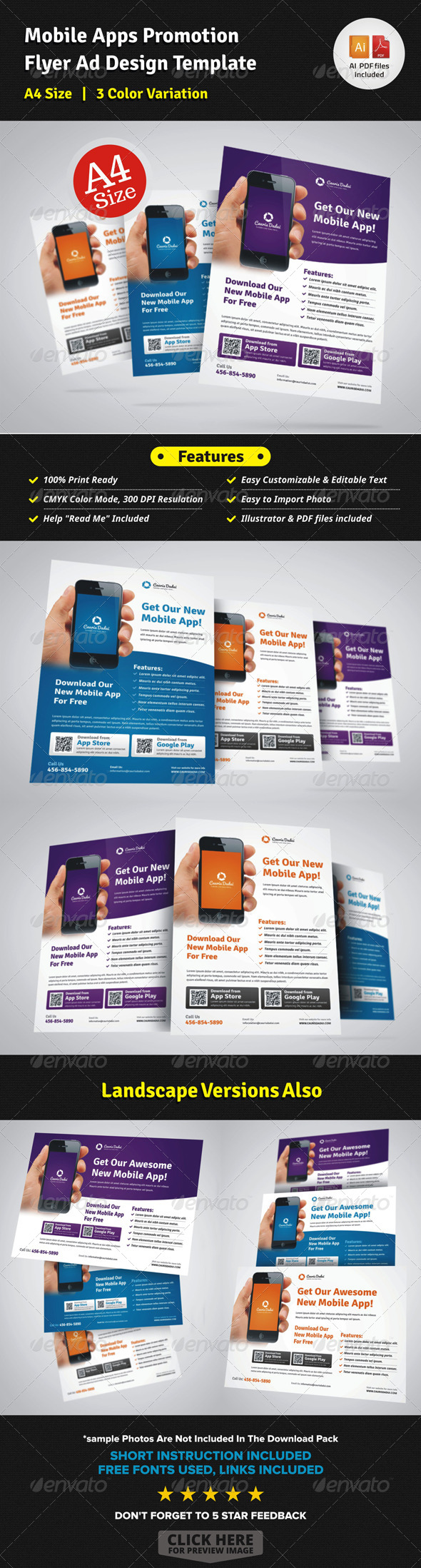 GraphicRiver Mobile Apps Promotion Flyer Ad Design 7342405