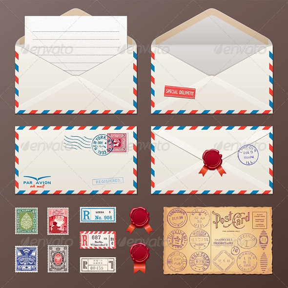 GraphicRiver Mail Envelope Stickers Stamps Postcard 7342445