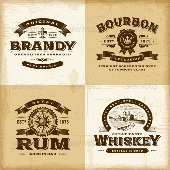 GraphicRiver Vintage Alcohol Labels Set 7342448