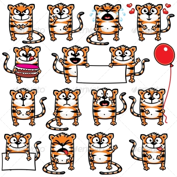 GraphicRiver Smiley Tigers 7342781