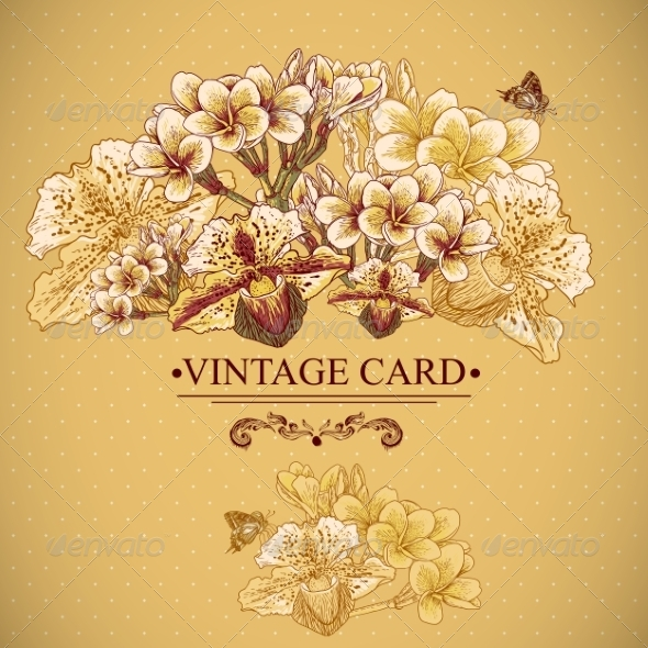 GraphicRiver Vintage Floral Card with Exotic Flowers 7342783