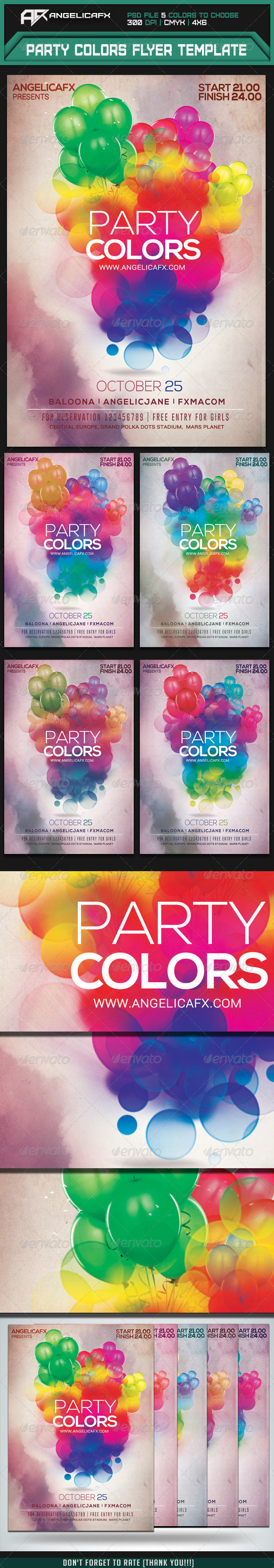 GraphicRiver Party Colors Flyer Template 7336496