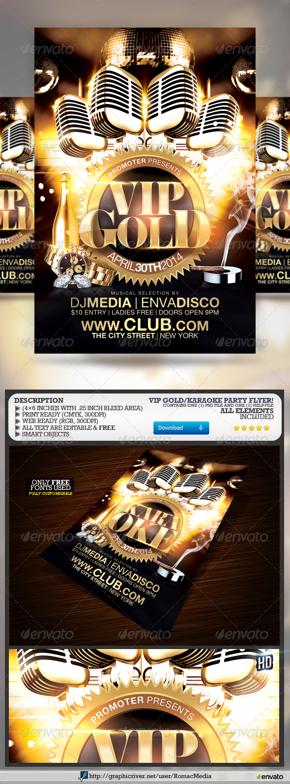 GraphicRiver VIP Gold Karaoke Party 7342854
