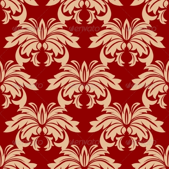 GraphicRiver Red Damask Floral Seamless Pattern 7343327