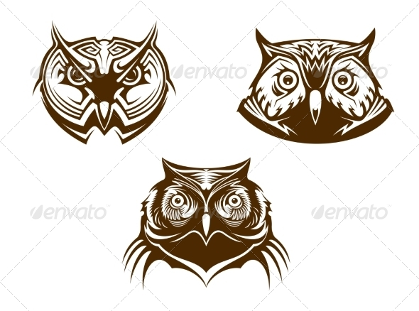 GraphicRiver Owl Head Mascots 7343511