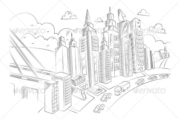 GraphicRiver Hand Drawing of City Life 7343869