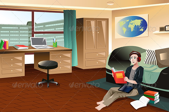 GraphicRiver College Student Studying in Dorm 7343932